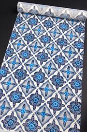 城間栄順 琉球紅型(藍型) 名古屋帯 若松にひし柄の写真