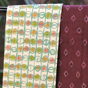 三橋工房半巾帯 トンボ玉×小菊菱