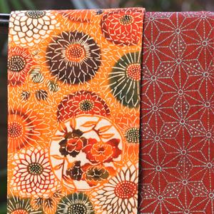 三橋工房半巾帯 菊西海×大小あられ麻の葉