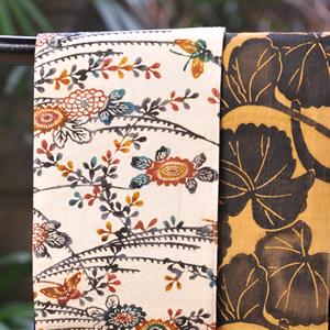 三橋工房半巾帯 ススキに菊×フキの葉